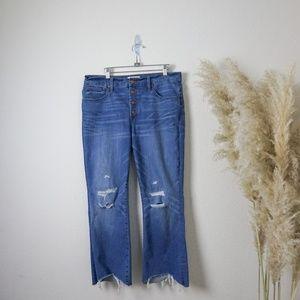 Madewell cali demi-boot Asymmetrical Hem jeans